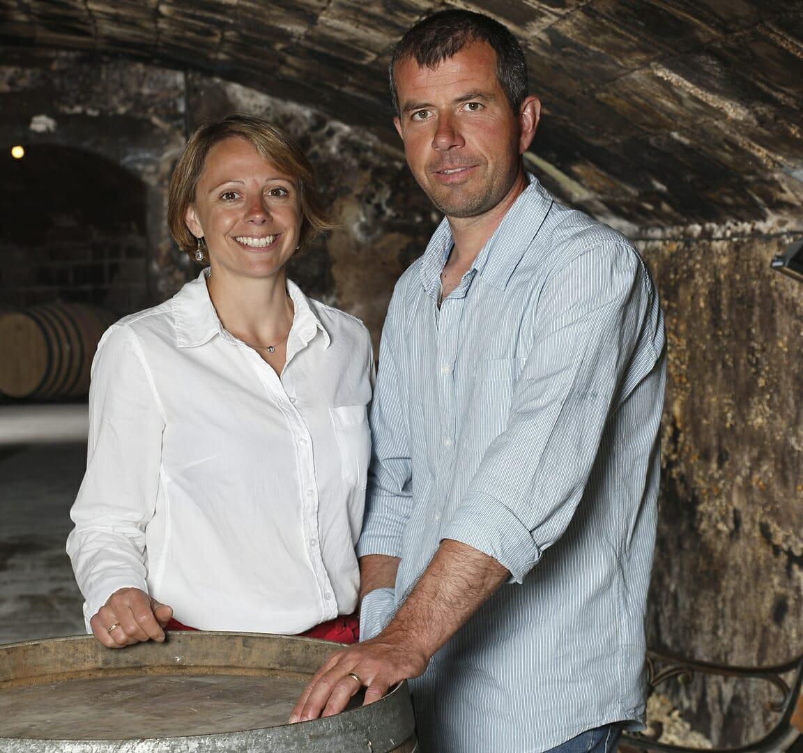 Hervé et Stéphanie MORIN Domaine de la Rodaie Saint Nicolas de Bourgueil en cave